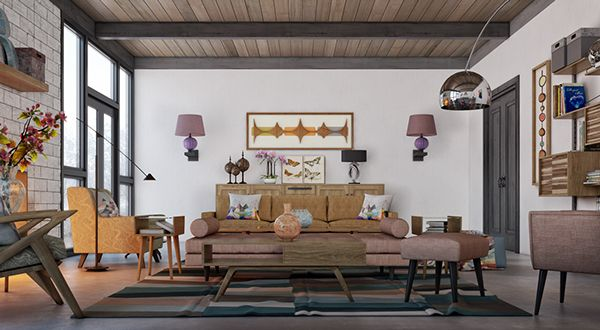 Mid Century Living Room by Adi R Indra G, via Behance