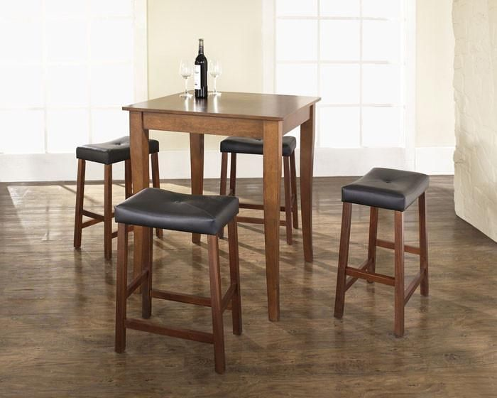 Crosley Furniture KD520004CH 5 Piece Pub Dining Set with Cabriole Leg and Upholstered Saddle Stools in Classic Cherry Finish
