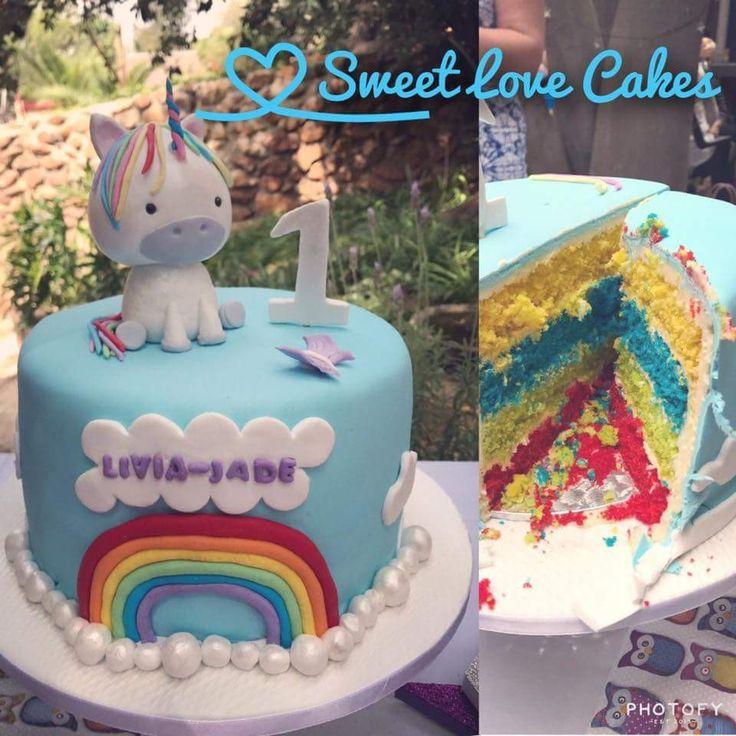 Unicorn rainbow 1st birthday cake #unicorn #rainbow #one