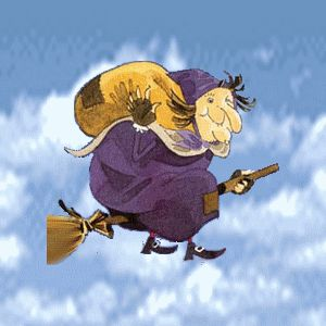 befana con cielo in movimento