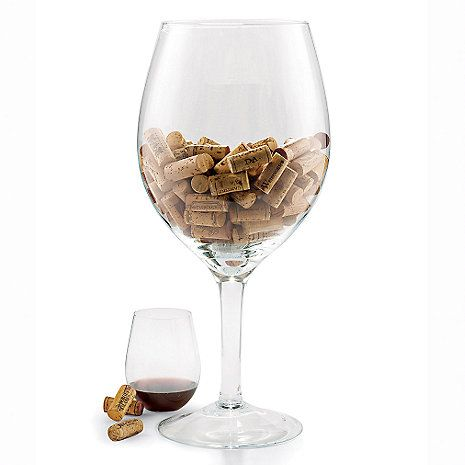 """Oversized Wine Glass Cork Holder at Wine Enthusiast - $39.95. I'll be using mine as a """"Wine"""" holder"""