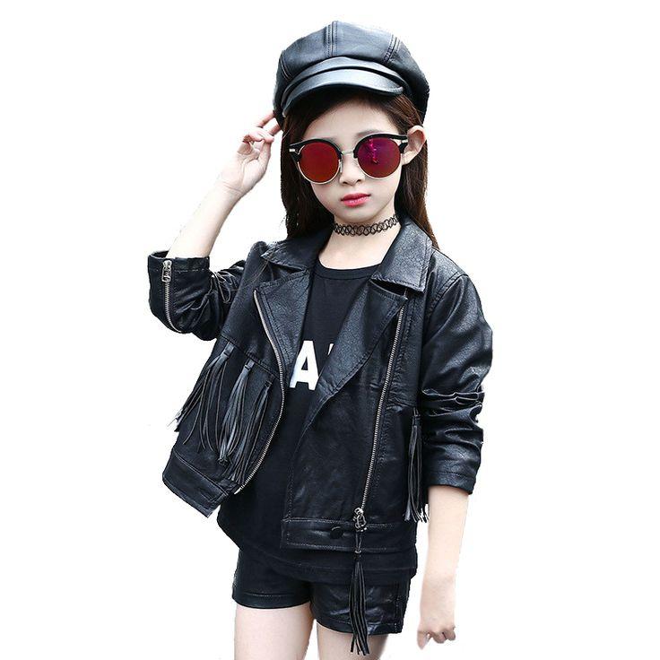 >> Click to Buy << Tribros  Autumn Winter Style Girls Faux Leather Clothes Kids Tassel Coat Pokemon Jacket Feminine Children's Zipper Jackets #Affiliate