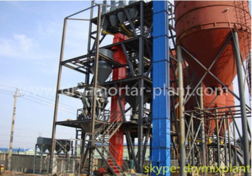 Automatic dry mortar production line is mainly composed of highly efficient dry powder mixer, powder storage silo, screw conveyor, bucket elevator, powder weighing scale, pre-mix tank, packing machine, pulse dust collector, material level control system, air compressor system, automatic control system.