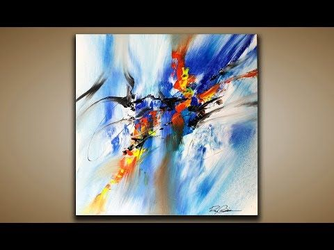 Abstract painting demo 85 abstract art with a brush and palette knife