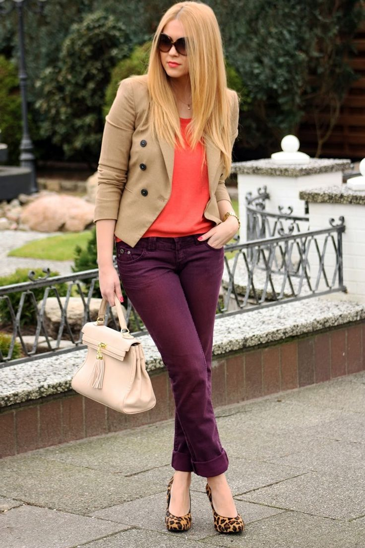 Pantalon morado mujer | What to wear | Pinterest | Blazers Outfit office and Urban style