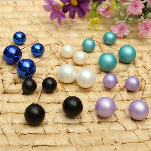 pendientes largos de perlas doble