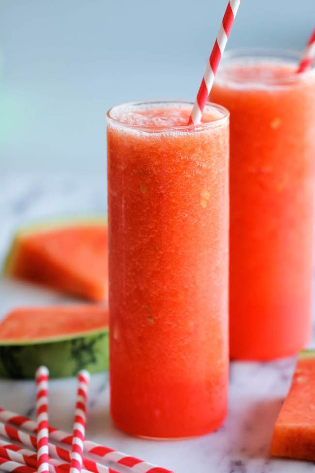 Blend together watermelon, sugar and ice for this refreshing drink. Just look how pretty it is.