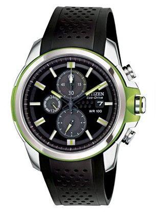 Montre Citizen eco-drive homme CA0427-08E, fonction chronomètre et date, cadran noir et vert.