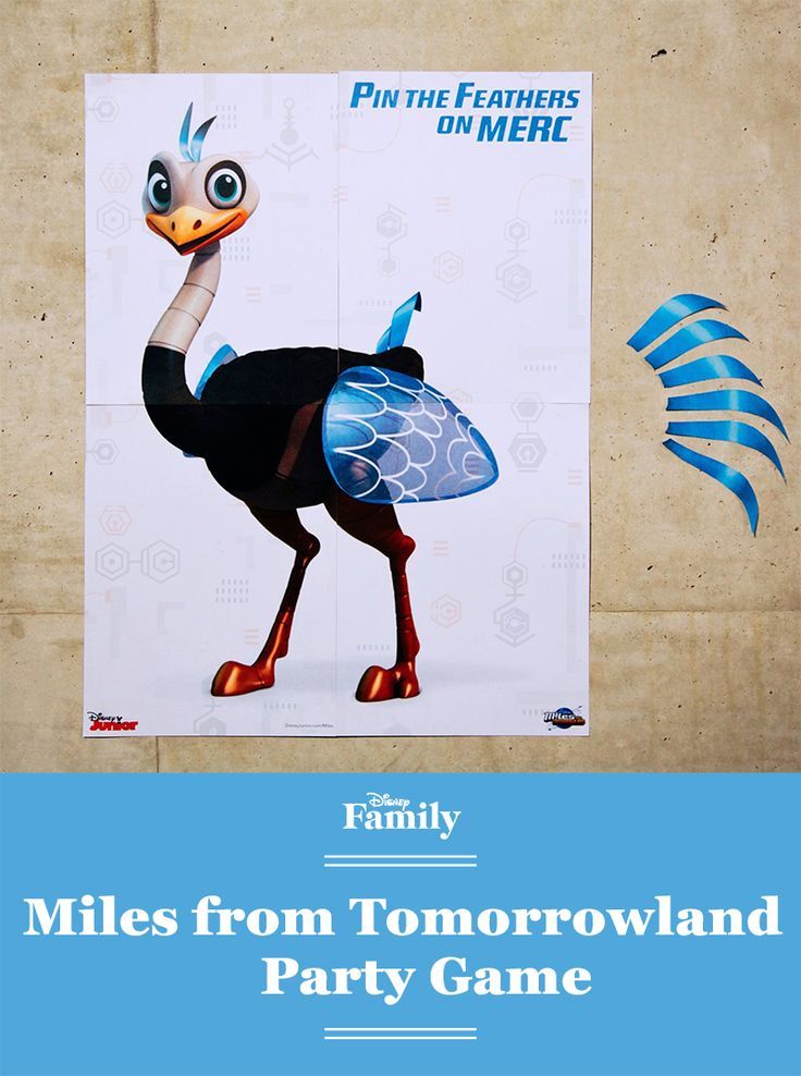 Pin the Feathers on Merc is a twist on the popular game Pin the Tail on the Donkey. It's a fun activity for your Miles from Tomorrowland party.