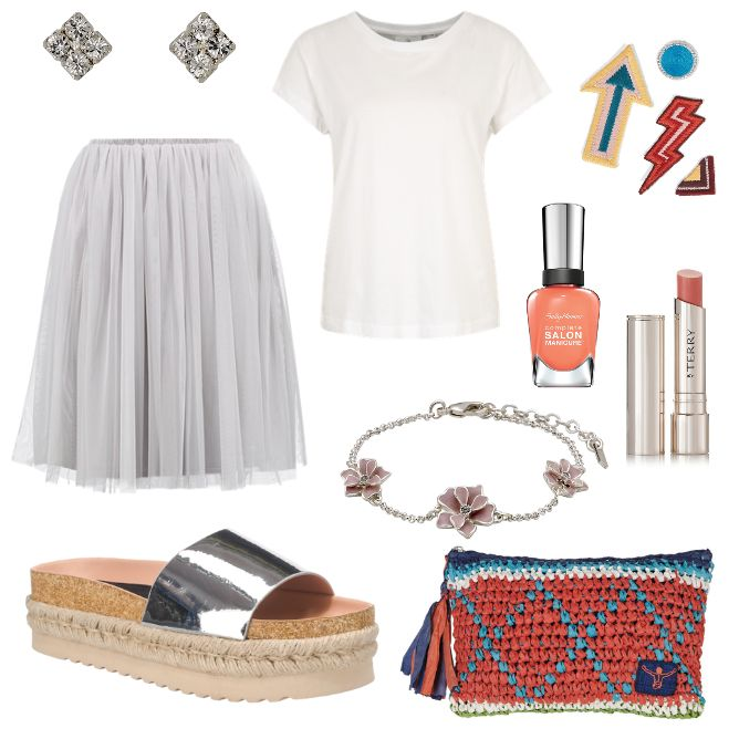 Was trägt man im Sommer? - #ootd #outfit #fashion #oneoutfitperday #fashionblogger #fashionbloggerde #frauenoutfit #herbstoutfit - Frauen Outfit Outfit des Tages Sommer Outfit Armband By Terry Cheap Monday Chiemsee Faltenrock Kleid Lace & Beads Lippenstift MTNG Nagellack nude Ohrring Ohrringe Pfirsich Pilgrim Rock Sally Hansen Sommerkleid Sommeroutfit T-Shirt Tasche weiss