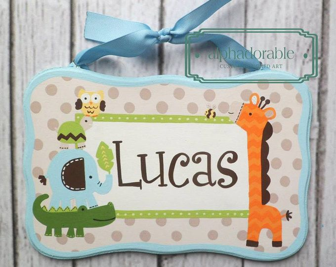 """Pintado a mano de artesanos personalizado signo nombre placa de placa de nombre ~ jirafa de elefante Safari bebés tema 6 x 10"""""""