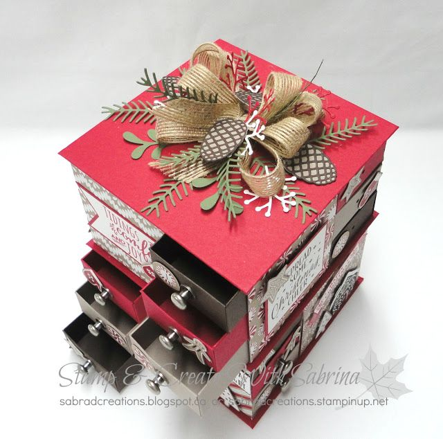 Stamp & Create With Sabrina: Candycane Lane DSP Advent Matchbox Tower…