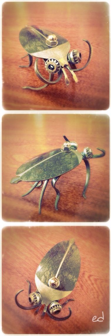 Beetle made of old cutlery and, key, and other small found objects.