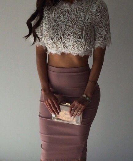 lace crop top + pencil skirt.