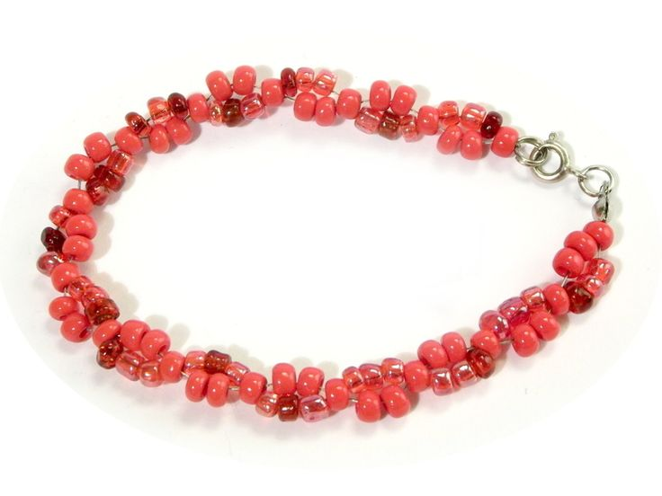 Bracelets – A red bracelet - beading – a unique product by betulek on DaWanda