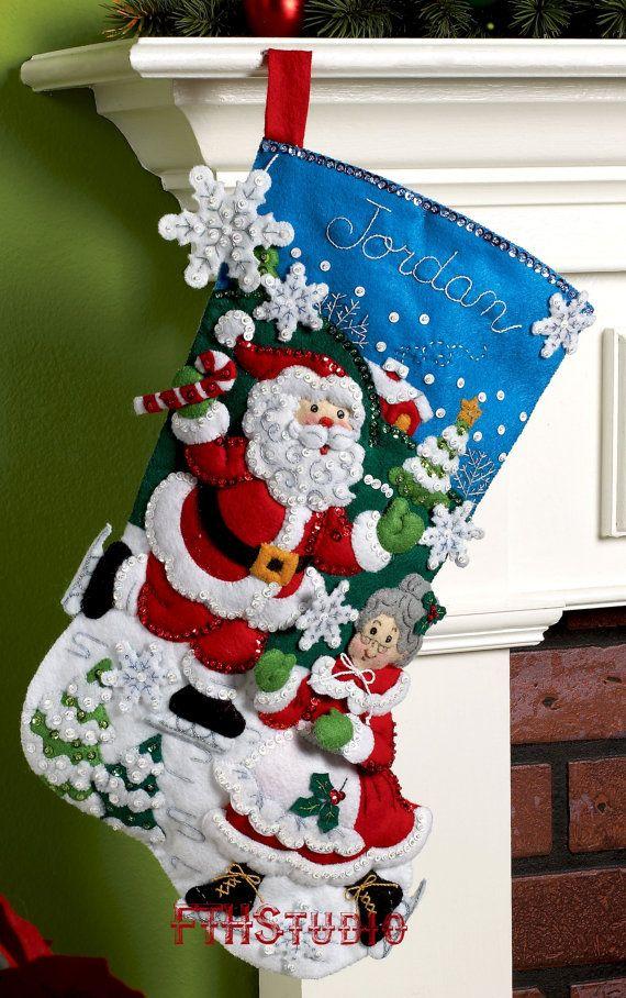 Bucilla Skating Clauses  18 Felt Christmas Stocking Kit