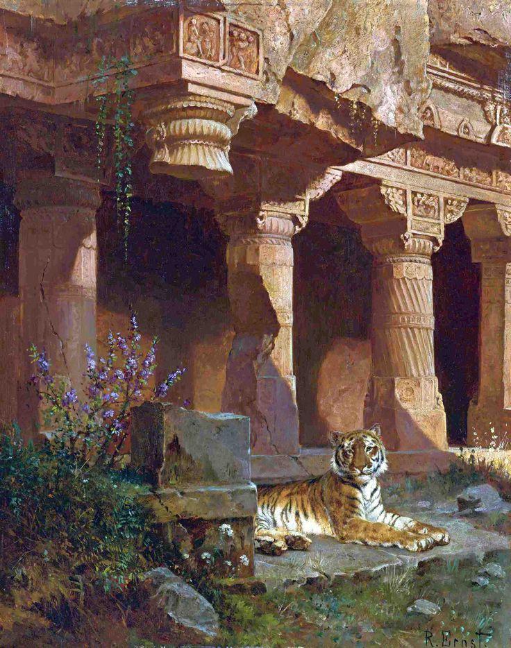 Rudolf Ernst, Tiger at Rest, date unknown, Oil on panel, 43 x 33 cm