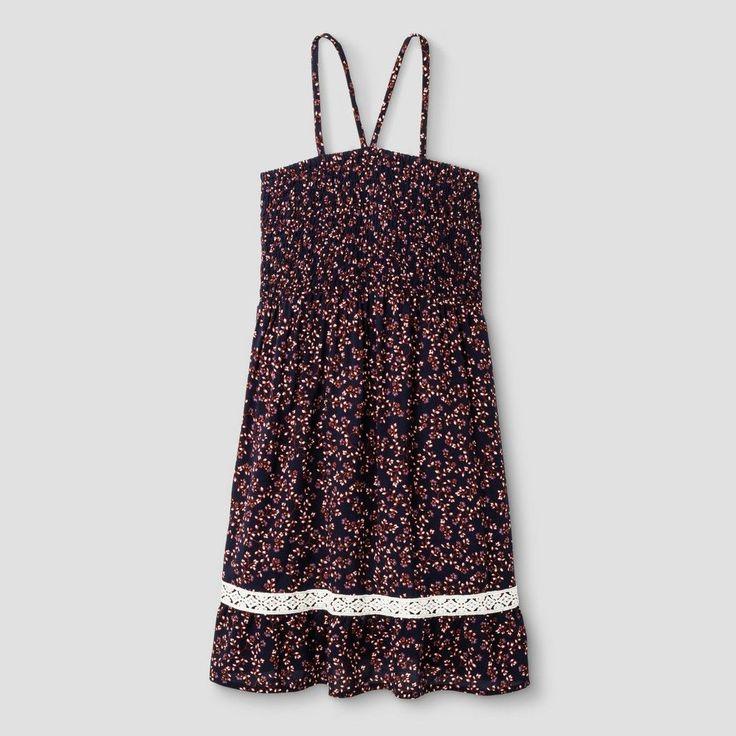 Girls' Smocked Dress Art Class - Folk Navy/Illusion Blue XS, Girl's