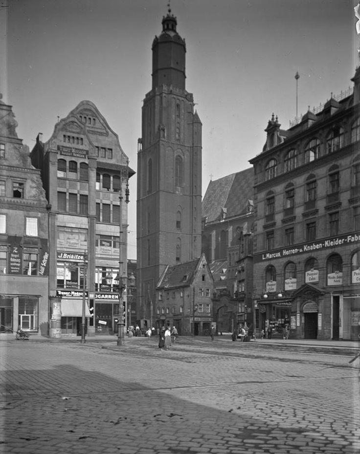 Wrocław - Rynek i kościół św. Elżbiety (lata 20. XX w.)