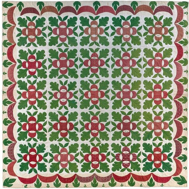 Presentation Quilt, 'Oak Leaf and Reel' --  Los Angeles County Museum of Art image;       United States, Pennsylvania, Bucks County, 1845-1850