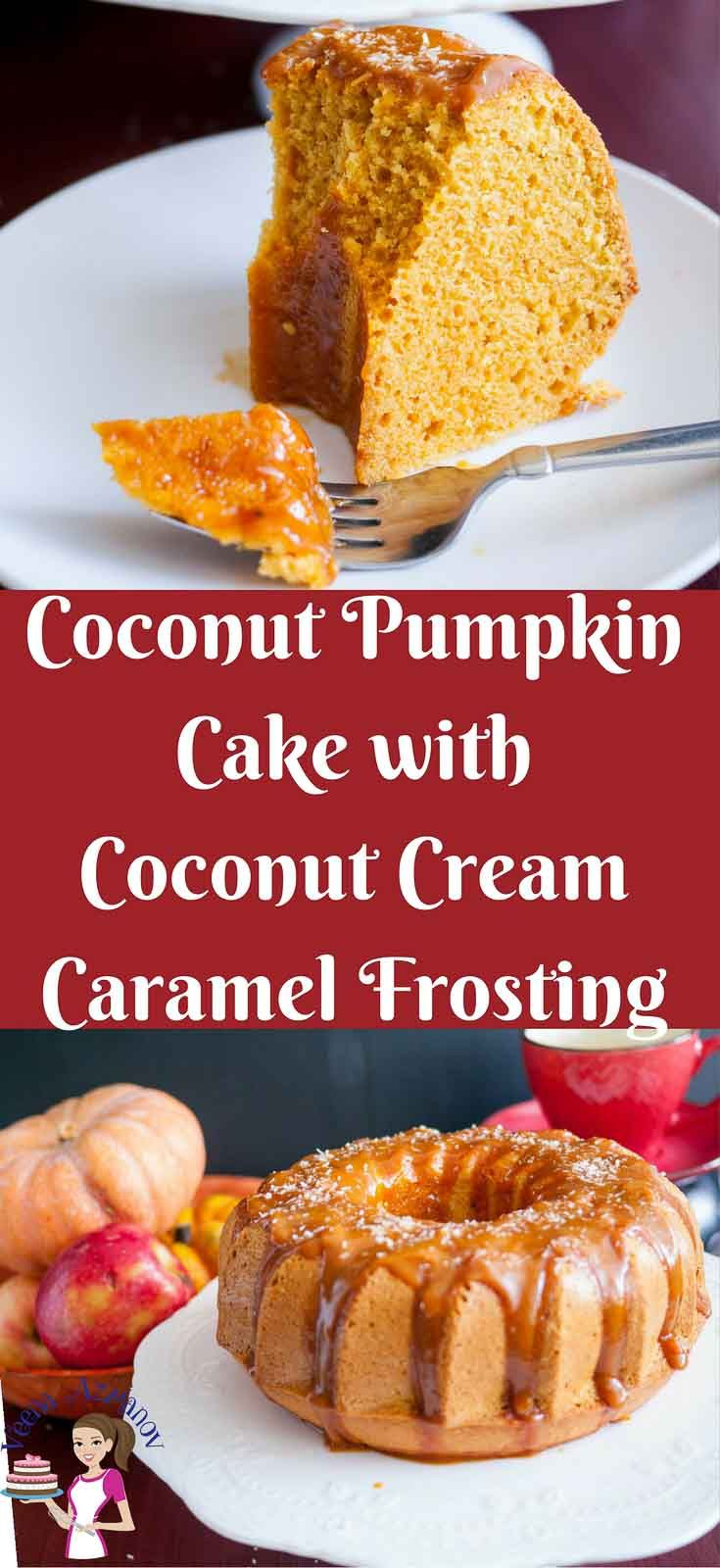 Pinterest image for Coconut Pumpkin Cake with Coconut Cream Caramel Frosting