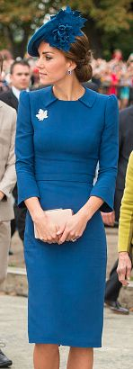 Jenny Packham French blue collared sheath dress. Click for more details