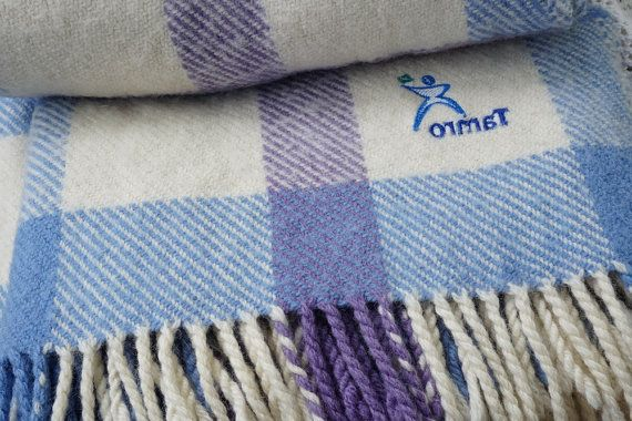 Finnish Skyblue Throw Wool Blanket Finnwilla by ScandicDiscovery