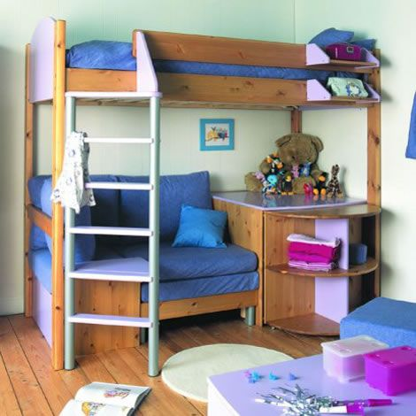 Bed And Couch Bunkbed Bunk Bed With Sofa Bed And Desk Next Day Delivery Stompa Casa Bunk