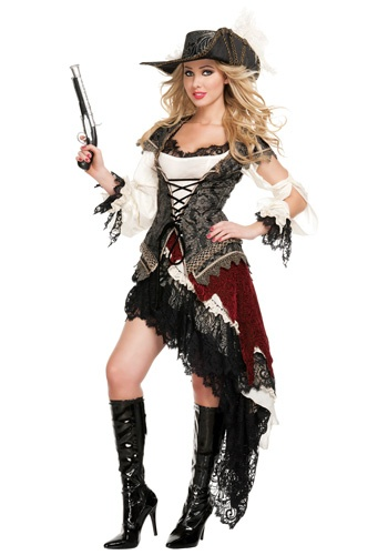 hidden treasure pirate costume halloween could easily make this modest with layers - Halloween Pirate Costume Ideas