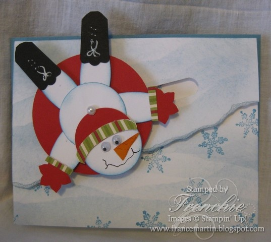 Stamp & Scrap with Frenchie: Sledding Art Punch Snowman Spinner card How to make it all!