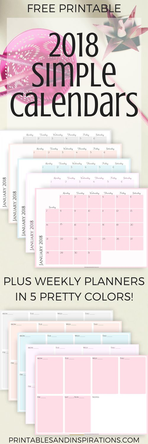 free 2018 calendars, simple calendar, monthly planner printables, weekly planner, free printables, free calendar