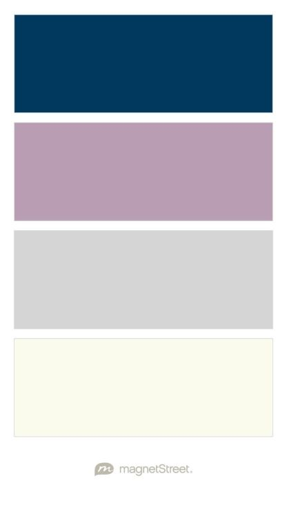 Navy Custom Purple Silver And Ivory Wedding Color Palette
