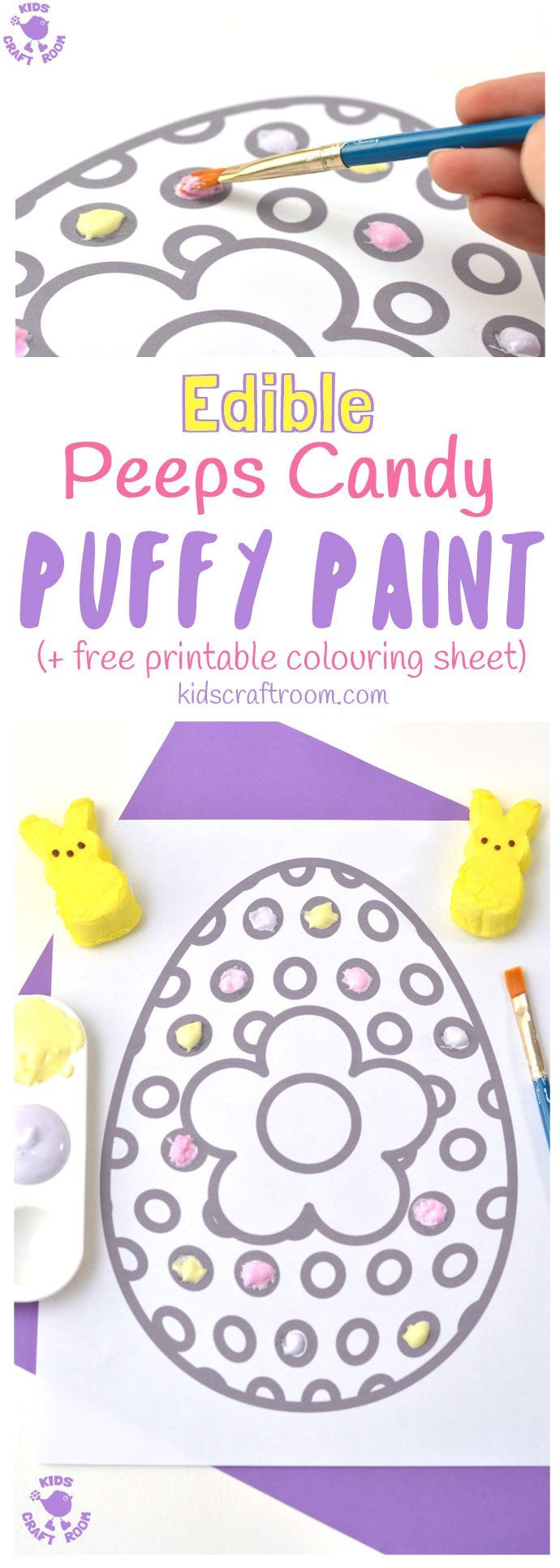 Here's a wonderfully easy and totally edible Peeps Puffy Paint Recipe you can make in just minutes. This homemade paint is fluffy and soft and comes in gorgeous pastel colours perfect for Spring and Summer art. Kids will have a finger licking good time getting creative with this fun and delicious sensory painting idea! #paintrecipe #painting #homemadepaint #ediblepaint #fingerpaintrecipe #puffypaint #puffypaintrecipe #easter #printables #kidsart #kidscraftroom #kidscrafts via @KidsCraftRoom