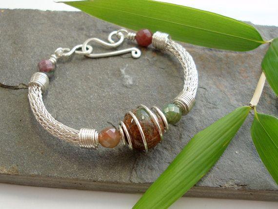 Torcesque  Fancy Jasper and Silver bracelet by Abbyjewellery, $140.00