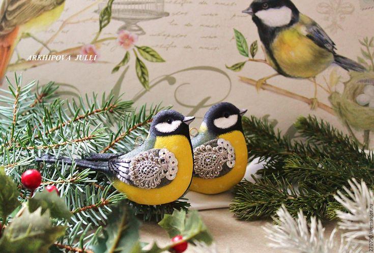 Купить Синицы. Птицы в зимнем саду. Желтые птички на елку. 2 шт. - желтый, синицы