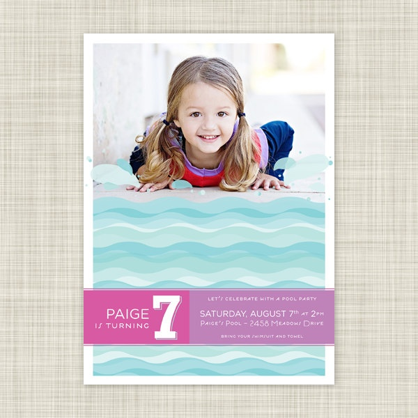 Kids Birthday Party Invitations Childrens Birthday Invites Pool