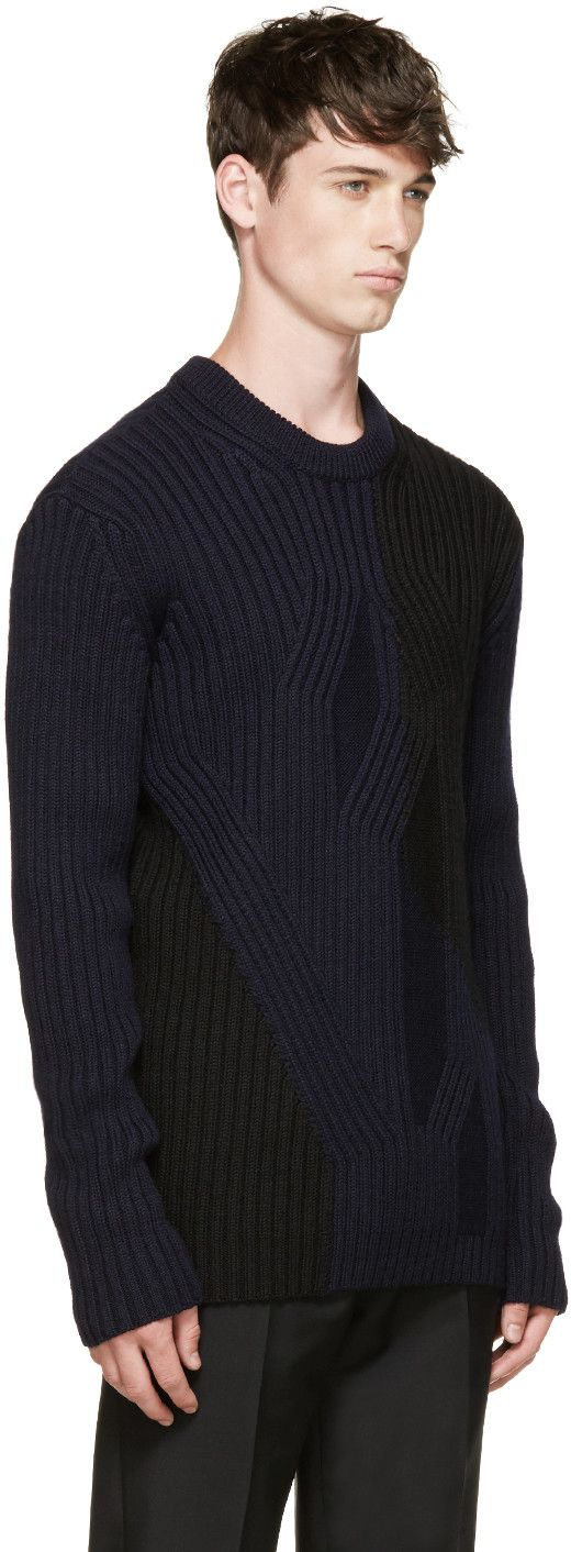 McQ Alexander McQueen Black & Blue Cable Knit Sweater | www.designerclothingfans.com