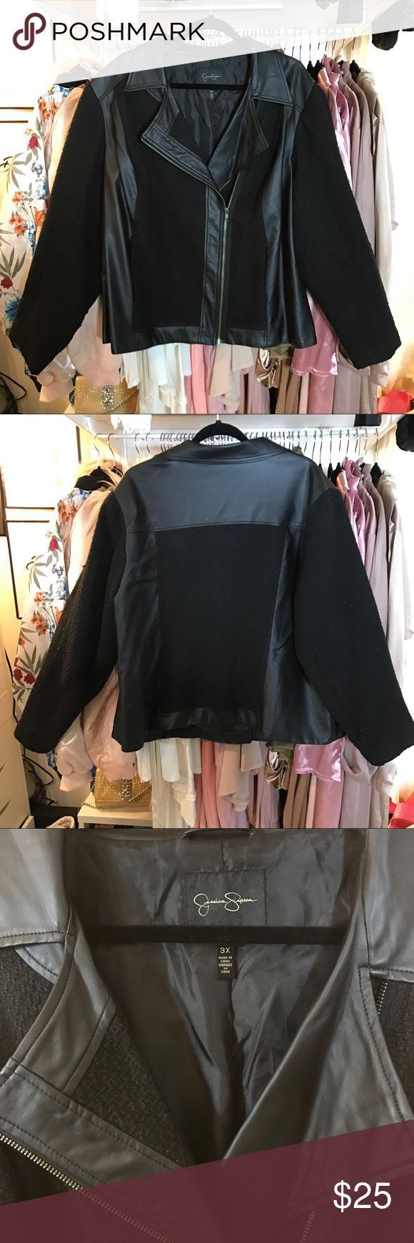 PLUS SIZE JESSICA SIMPSON MOTO JACKET *POP UP CLOSET SALE* Good condition authentic Jessica Simpson MOTO jacket with knitted fully lined sleeves. Fits true to size. 🔈ALL LISTINGS ARE AS IS AND EXACTLY LIKE THE PICTURE SHOWN. I DO NOT LIST TORN, RIPPED OR DEFECTIVE ITEMS. IF YOU FALSELY CLAIM THE GARMENT IS NOT AS DESCRIBED TO GET OUT OF PAYING FOR YOUR LISTING YOU WILL BE BLOCKED AND REPORTED. Jessica Simpson Jackets & Coats