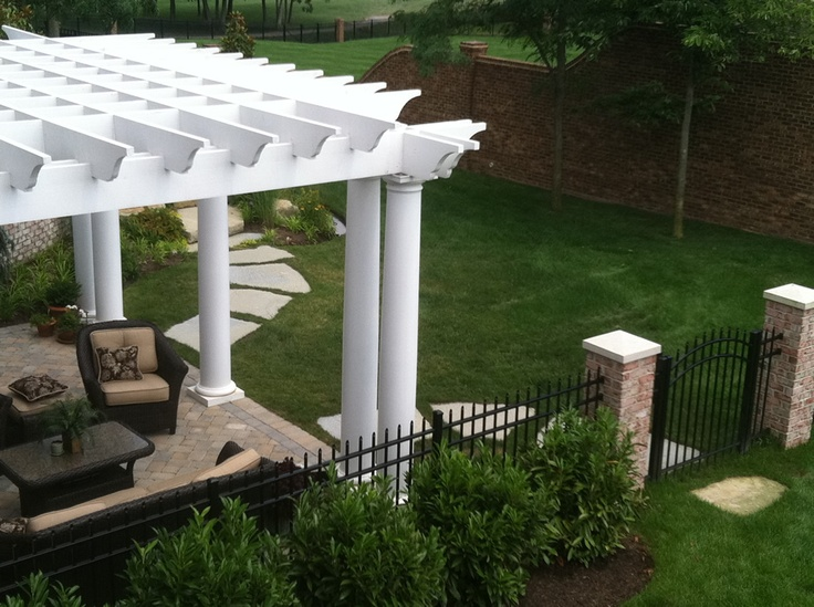 White Pergola Pergola Pinterest Columns Decks And Patio