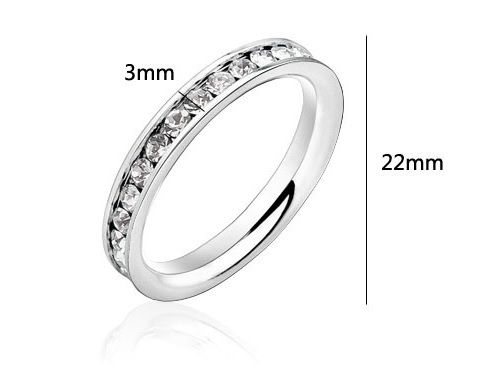 Clear CZ 316L Stainless Steel Channel-Set Eternity Ring Size 10 - $13.50 w/coupon #rozeejee