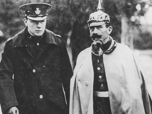 historicaltimes: A young Winston Churchill attending German Army maneuvers with Kaiser Wilhelm II, 1909 via reddit