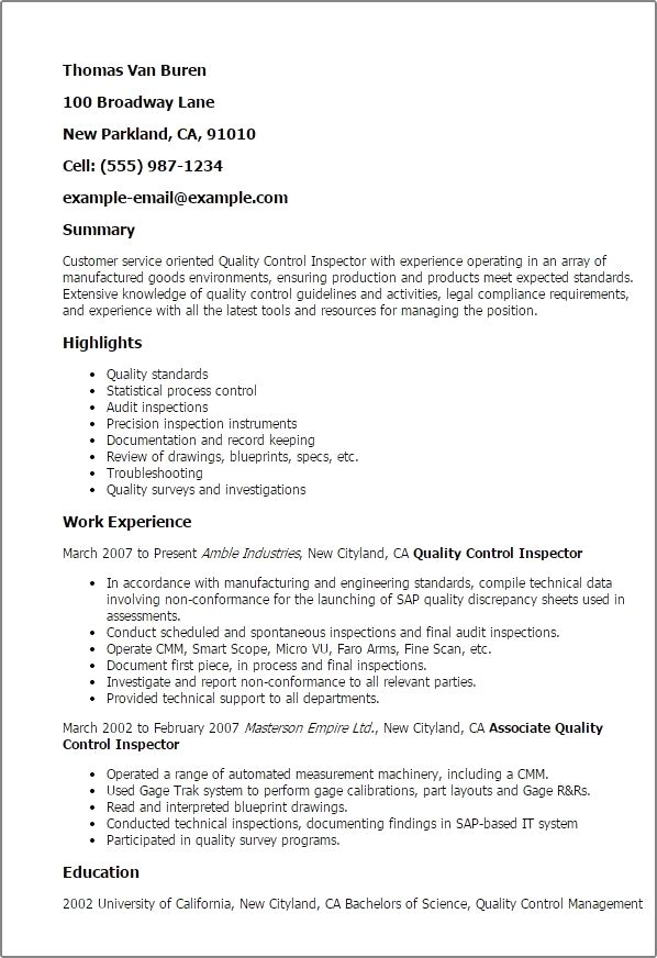 Quality control inspector resume, inspections, safety, testing