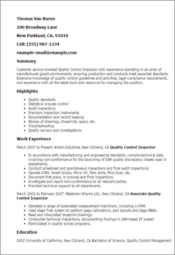 quality control technician resume