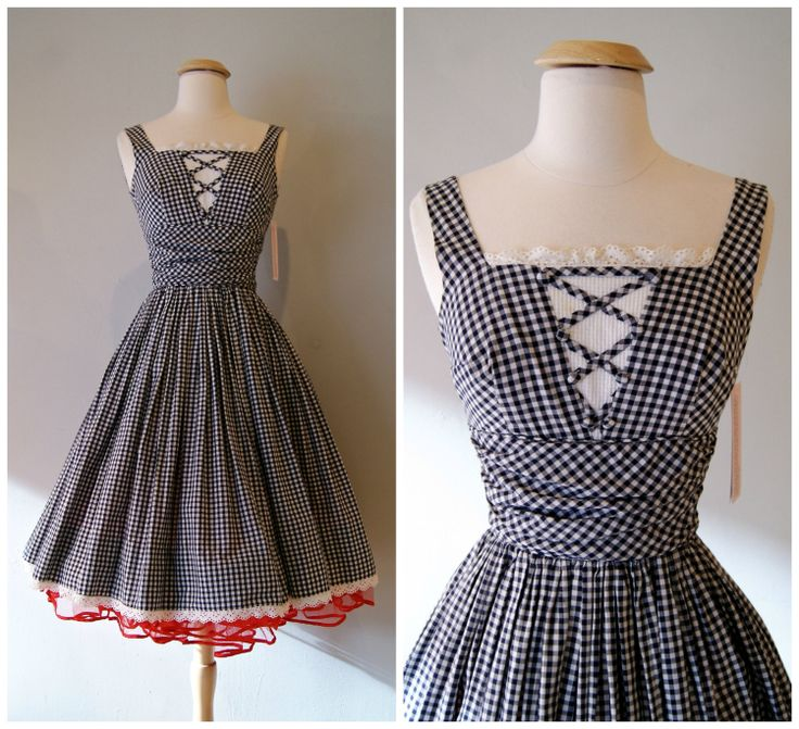 50s+Dress+//+Vintage1950s+Gingham+Sundress+by+by+xtabayvintage,+$148.00