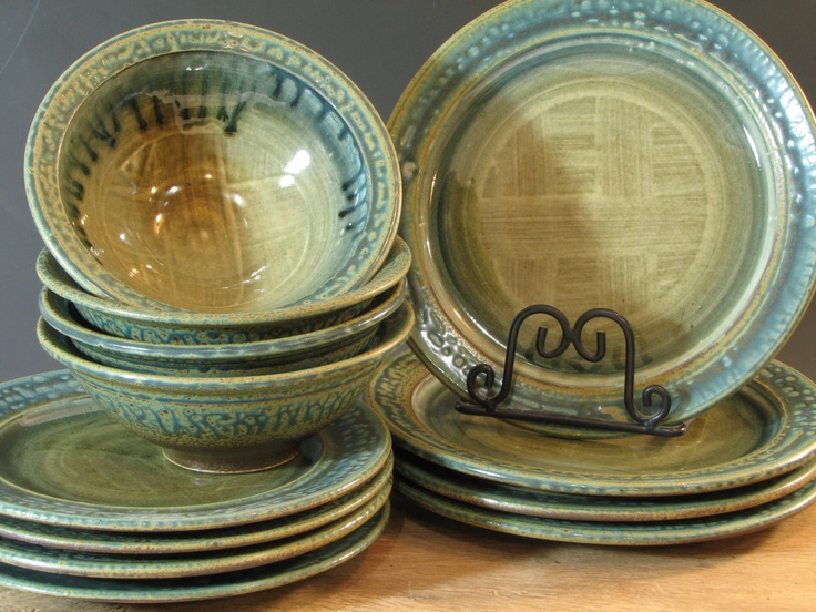 Dinnerware Set Blue Green Stoneware 12 piece by Jon Arsenault Youngs Cove Pottery (YC302) & 14 best DINNERWARE images on Pinterest | Dinner ware Dinnerware and ...