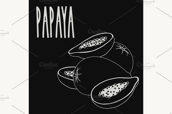 Chalkboard Papaya Fruit Papaya Fruits Papaya Vegetable Design
