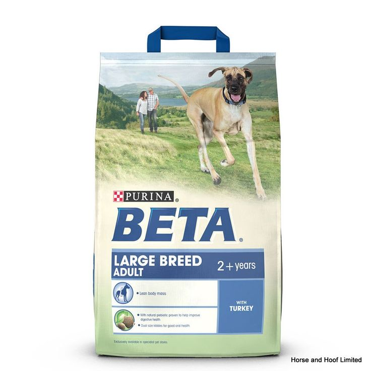 Beta Adult Large Breed With Turkey Beta Adult Large Breed with Turkey has been designed to suit the nutritional requirements of large breed dogs that continue to live an active lifestyle.