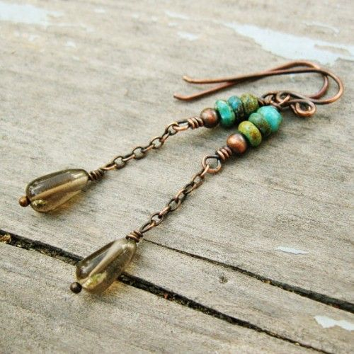 ear Run Road creates beautiful copper jewelry. I love seeing jewelry collections that are so consistent in brand and feel. Bear Run Road has this down! https://www.etsy.com/listing/171097600/turquoise-and-smoky-quartz-chain-dangles - See more at: http://www.nunndesign.com/do-you-have-extra-bits-of-chain-23-earring-inspirations/#sthash.fGodvF6r.dpuf  il_570xN.533122872_h0jh