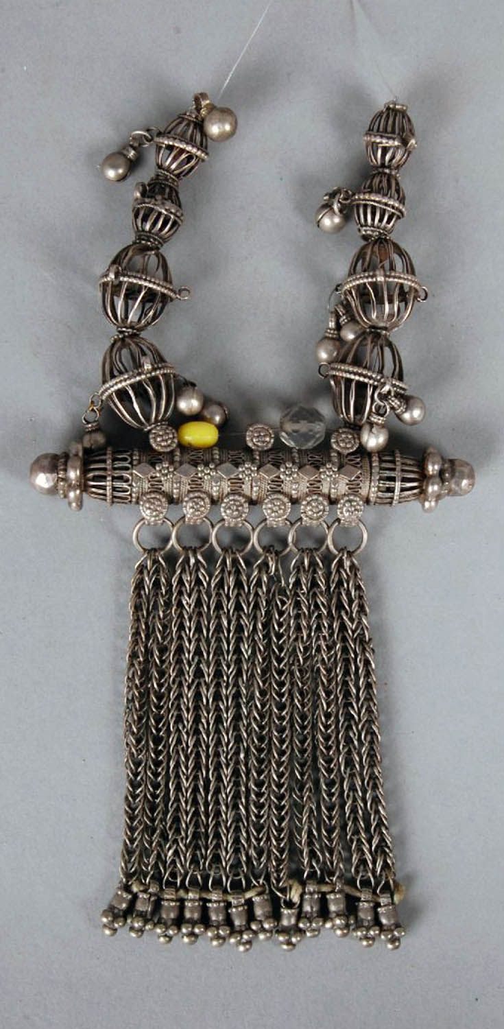 Yemen   Amulet case pendant and beads; metal or low grade silver alloy // ©British Museum. As1978,04.3.b