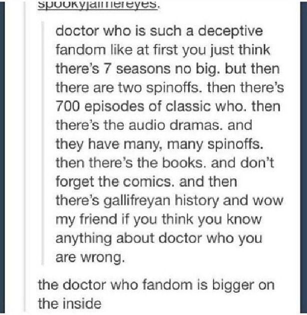 The Doctor Who fandom << not gonna lie, it's still kinda intimidating to a relative newbie (10 months) // as someone who's been in the fandom for only a year and seven months I can confirm this. Haha